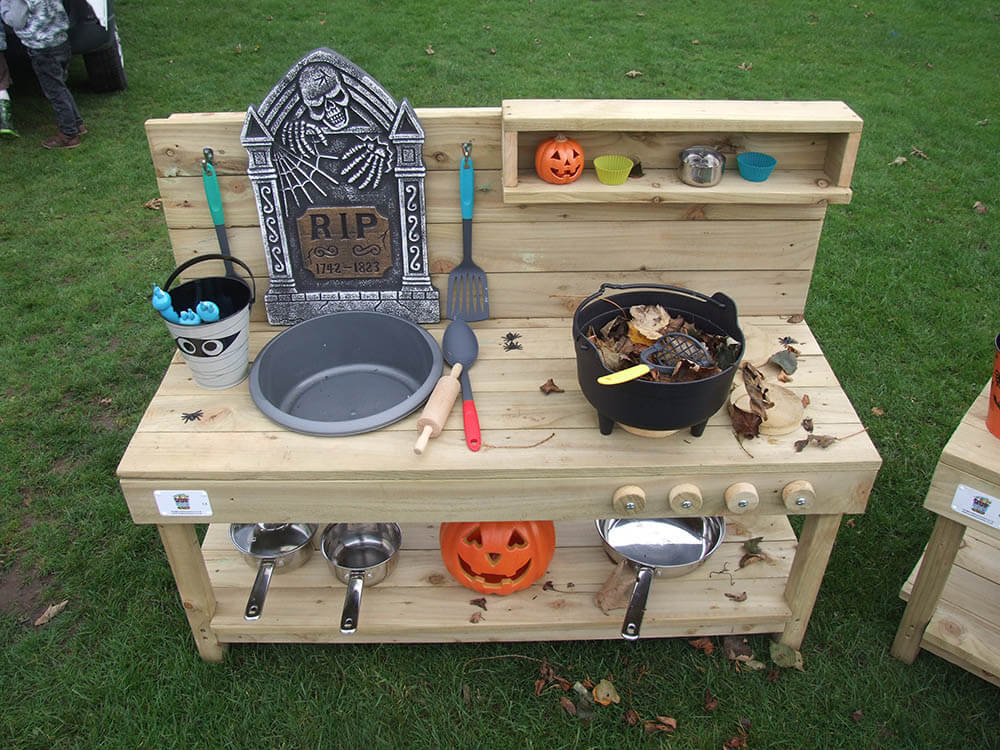 Mud Kitchen Set Up For Halloween