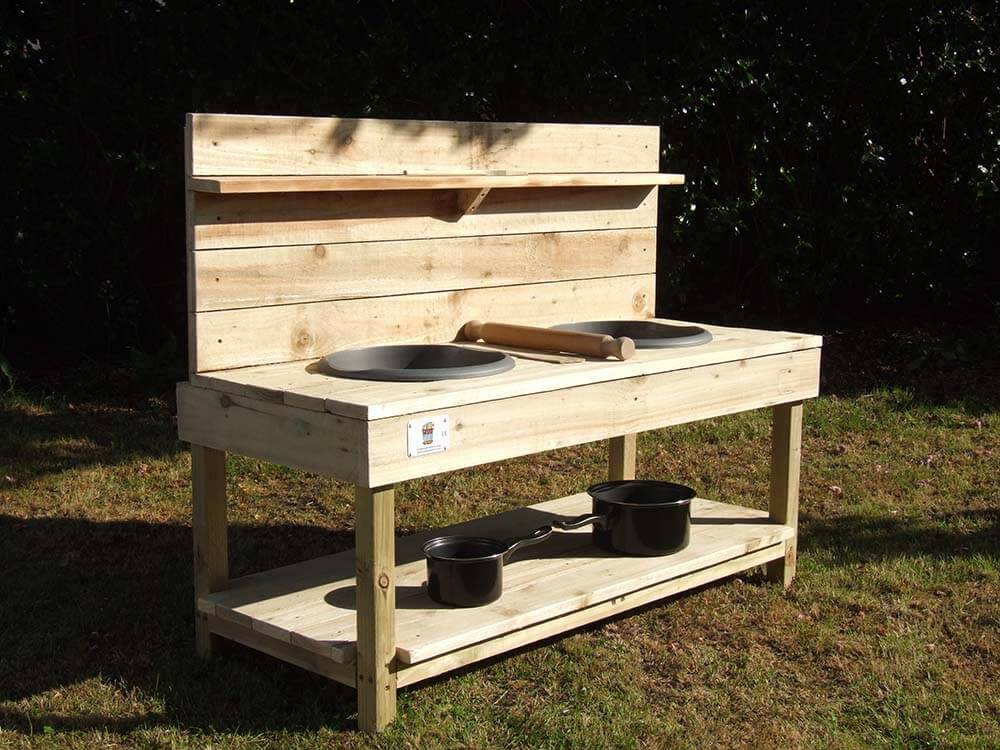 Mud Kitchen With Pans, Bowls & Utensils