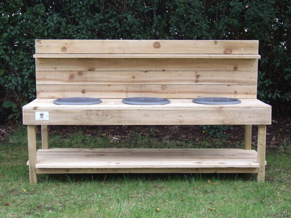 Large 3 Bowl Wood Mud Kitchen