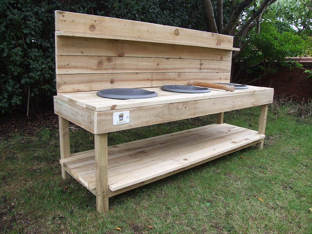 Large Wooden Mud Kitchen With 3 Bowls